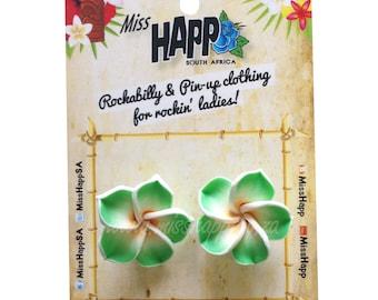 Tiki Hawaiian Frangipani Stud Earrings