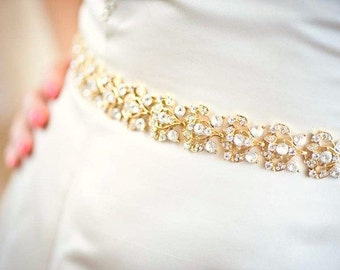 Gold Belt - Gold Sash - Wedding Belt - Wedding Sash - Crystal Belt - Crystal Sash - Bridal Belt - Bridal Sash - Prom Sash - Collette