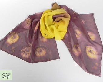 Brown Yellow Silk Scarf Hand Painted, Chiffon Scarf, Floral Scarf, Women Silk Scarf, Art Deco, Gift Her Wife Mom