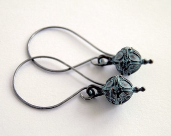 Verdigris Earrings on Handcrafted & Oxidized Sterling Silver Earwires