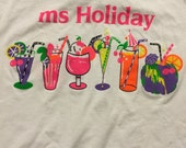 Vintage Ms Holiday tropical drink tee neon floursecent  size L fits like M vtg