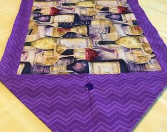 Table Runner ** Artsy Vino / Wine with Purple Chevron pattern Runner