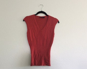 90s Tank Top - Sweater Top - Thin Small S Stretch V Neck