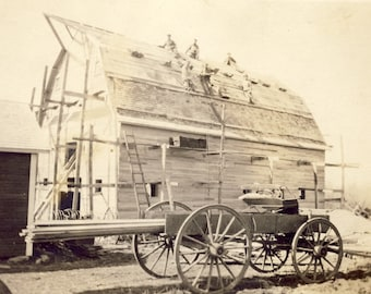 Men Working On The Roof of a NEW BARN With Their WAGON Full of Supplies Photo Postcard Circa 1910
