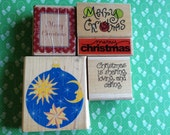 Rubber Stamps: Christmas and Winter themes. Merry Christmas. Moon and Stars. Gift tags, Etsy packaging, Card making, Scrapbooking