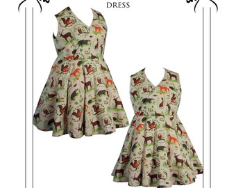 Vintage Tea Dress Paper Sewing Pattern. Plus size pattern. 50's dress Style. uk sizes 18-24
