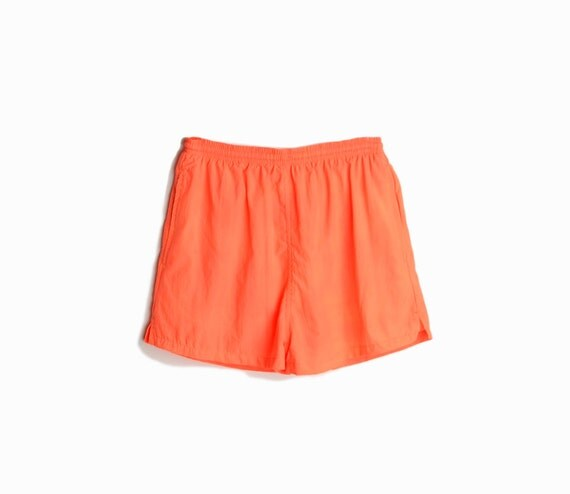 Vintage 90s Neon Orange Short / Beach Shorts / 90s Neon Party Shorts - women's small