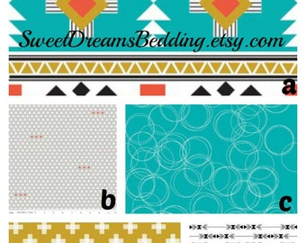 Custom Crib Bedding You Design   in  Tribal in Turquoise and gold