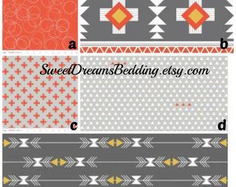 Custom Crib Bedding You Design   in  Tribal in gray and orange