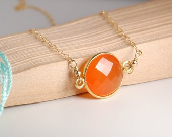 Natural carnelian bezel necklace, vemeil bezel, 14K gold filled chain, dainty everyday necklace, personalized necklace, gemstone, initials
