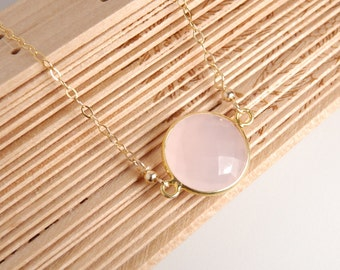 Pink chalcedony bezel necklace, vemeil bezel, 14K gold filled chain, dainty everyday necklace, personalized necklace, gemstone, initials