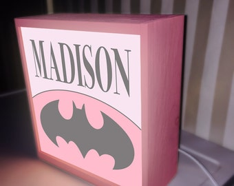 Pink Batman girl table top night light, night lights, nursery lamp, kids light, kids lamp, childrens night light baby light lamp kid