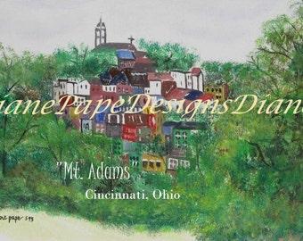 "Mt. Adams - Cincinnati, Ohio WITH TITLE 5x7 Signed Print w/2"" Border -  Hillside Entertainment, Cincinnati Art , Bohemian, Dog-Friendly"