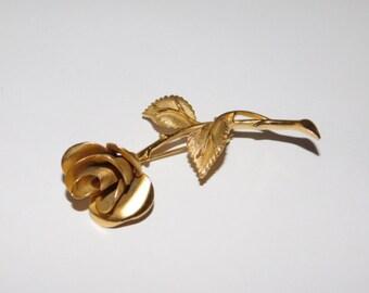Vintage Pastelli Long stemmed Rose Brooch