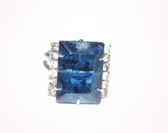 Blue and Clear Glass rhinestone adjustable ring size 7
