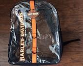 Vintage Harley Davidson 90s Backpack Clear PVC Plastic Grunge Back Pack Plastic Vinyl Backpack