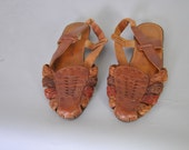 Vintage Braided Leather Huaraches Sandals sz9 Caramel Brown Leather Shoes