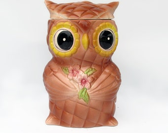 Cute Mid Century Ceramic Owl Cookie Jar