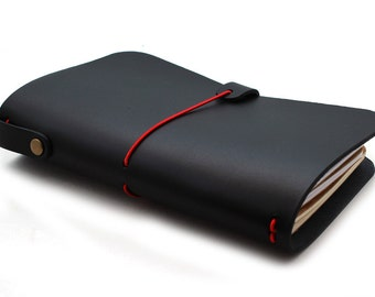 Leather Cover for Pocket size Journal (Cahiers) and Midori Passport Notebooks in BLACK (Free Monogramming)