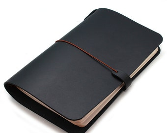 Leather Cover for Journal (Cahiers) 5X8.25 size and TRAVELERS notebooks in BLACK (Free Monogramming)
