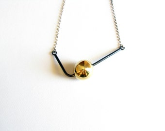 Gold Ball Necklace-Ball Brass Necklace-Ball Pendant NecklaceOxidized-Sphere Brass Necklace-Contmeporary Necklace-Modern Jewelry