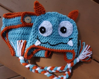 Diaper Cover/Monster Hat Set for 0-3 Month Baby or Reborn Doll in Aqua Blue with Burnt Orange Trim