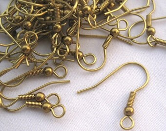 50pcs French Earring Hook 21mm Raw Brass Coil Ear Wires t053