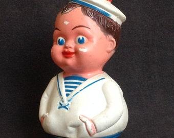 Vintage toy roly poly sailor. Nursery retro decor display.