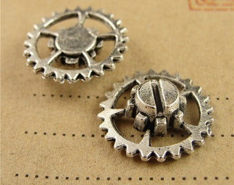 30 Watch Gear Charms, 15mm, Antique Silver/ Antique Bronze available, 36g- HA3883