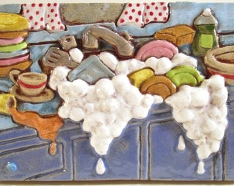 Ceramic Art Tile, KITCHEN SINK - Antique Blue, 4 x 6 Handmade Tile, Kitchen Wall Art, Dirty Dishes