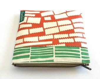 Screenprinted zipper pouch // organic cotton/hemp pouch // pencil case // make-up bag