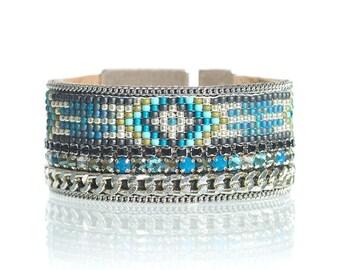 Teal blue bead loom cuff - woven bracelet - tribal bracelet- aztec bracelet - evil eye jewelry - evil eye cuff bracelet - bohemian jewelry