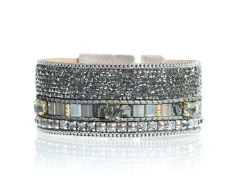 Statement cuff / gift for her / swarovski crystal fine rocks bracelet / rhinestone jewelry / miyuki tila handwoven bracelet / tila bracelet