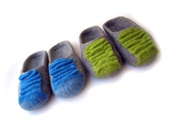Felted natural wool slippers for men, women/ felted shoes, Felted slippers Color /blue /gray/ green
