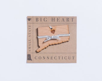 Small State, Big Heart™ Collection | Handmade Wooden Connecticut Ornament