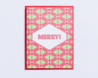 """Party   """"Merry!"""" Letterpress Christmas Card"""
