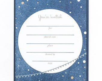"""Festive Fill-Ins   """"You're Invited!"""" Over the Moon Letterpress Invitations - Set of 8"""