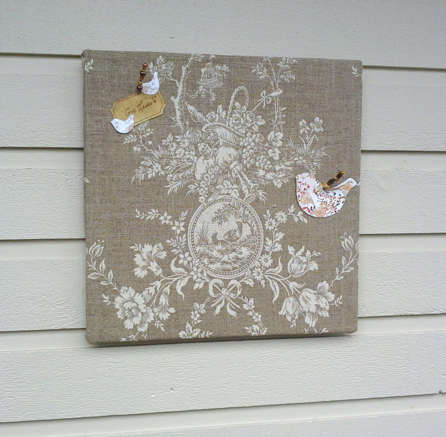 Linen pinboard bulletin board linen toile fabric country for Linen cork board