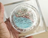 Los Angeles California Map Glass Drink Coaster with Silver Leaf