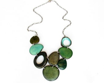 Tagua nut jewelry, mixed greens statement necklace, emerald necklace, army green turquoise aqua necklace, charity, READY TO SHIP. Sela