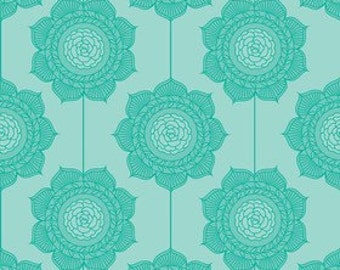 Riley Blake Designs Cottage Wallpaper Teal fabric - 1 yard