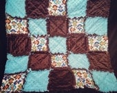 SALE Custom rag quilt ready to ship in brown, aqua blue minky and monkeys for baby boy.