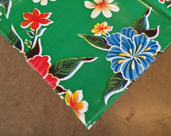 Square Oilcloth Tablecloth Hawaii Green with a Simple Hem
