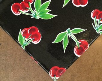 48x48 Oilcloth Tablecloth Cherry Black with a Simple Hem