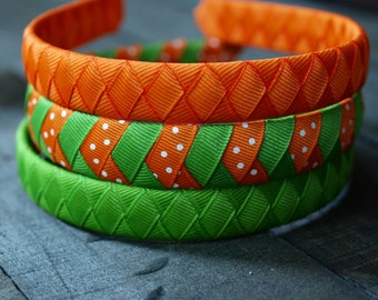 Grosgrain Ribbon Headbands | Orange Headband | Green Headband | Set of 3 Coordinating Grosgrain Ribbon Headbands - Orange and Green