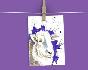 Sheep card, watercolour sheep card,farm animal card, blank card, funny card