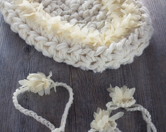 Set Girl accessories Photo prop Newborn basket White flower Baby Headband Baby Barefoot sandals Accessories Girl Baptism Photography Props