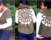 Instant Download Pattern - Crochet Vest Pattern - Sunflower Circular Vest - Plus Size Clothing - Crochet Shrug Pattern - Crochet pattern