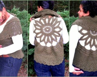 Crochet Vest Pattern - Circular Crochet Vest - Plus Size Clothing - Crochet Shrug - Easy Crochet Pattern Plus Size Crochet - Quick Crochet