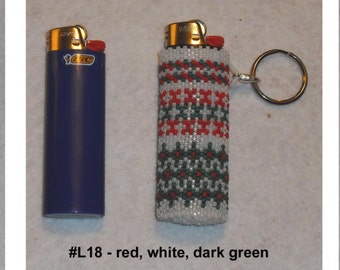 Beaded BIC Classic Lighter Removable Cover Case Keychain Key Chain Glass Seed Beads Your Choice Lots of Colors Designs Ready To Ship